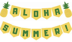 Need some last minute decor for your end of summer Luau? Snag this free printable banner from TheSaltyMamas.com! #summerplaydate #endofsummerparty #endofsummerluau #endofsummerbbq #luau #luaudecor #printableluaudecorations