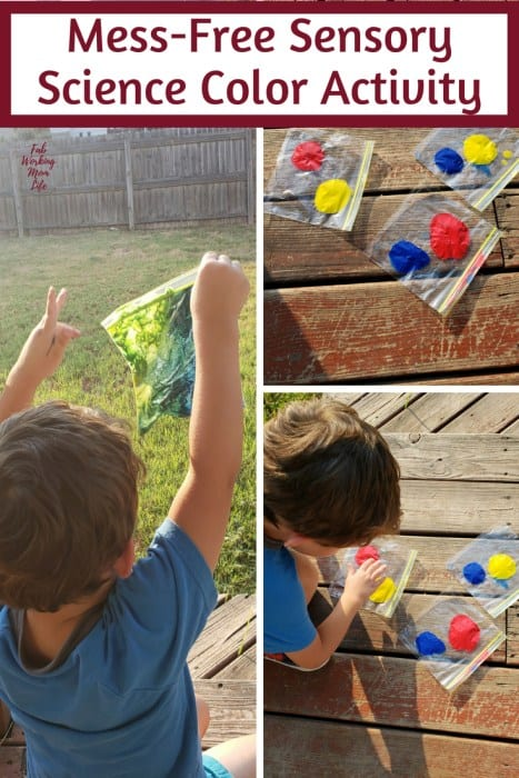 Toddler playing with pain in plastic sandwich bags; Text overlay: Mess-free sensory science color activity.