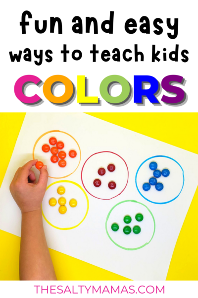 child sorting candy by color; text overlay: fun ways to teach kids colors