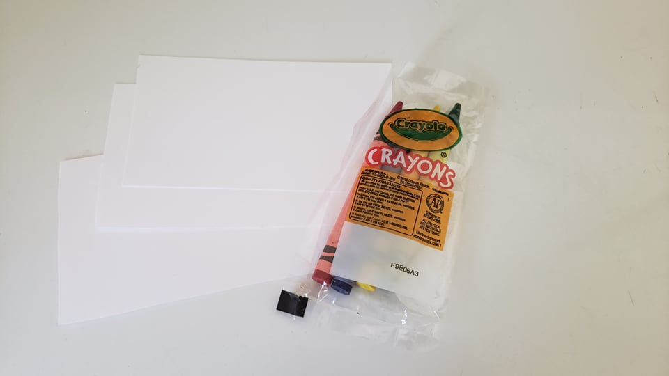 index cards and small pack of crayons
