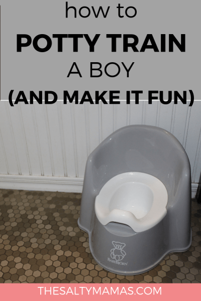 Need help potty traiing your little boy? We've got the tips and tricks you need to potty train your toddler quickly at TheSaltyMamas.com. #pottytraining #toddler #pottytrainingaboy #toddlerboy #parenting #kids #potty #adviceformoms