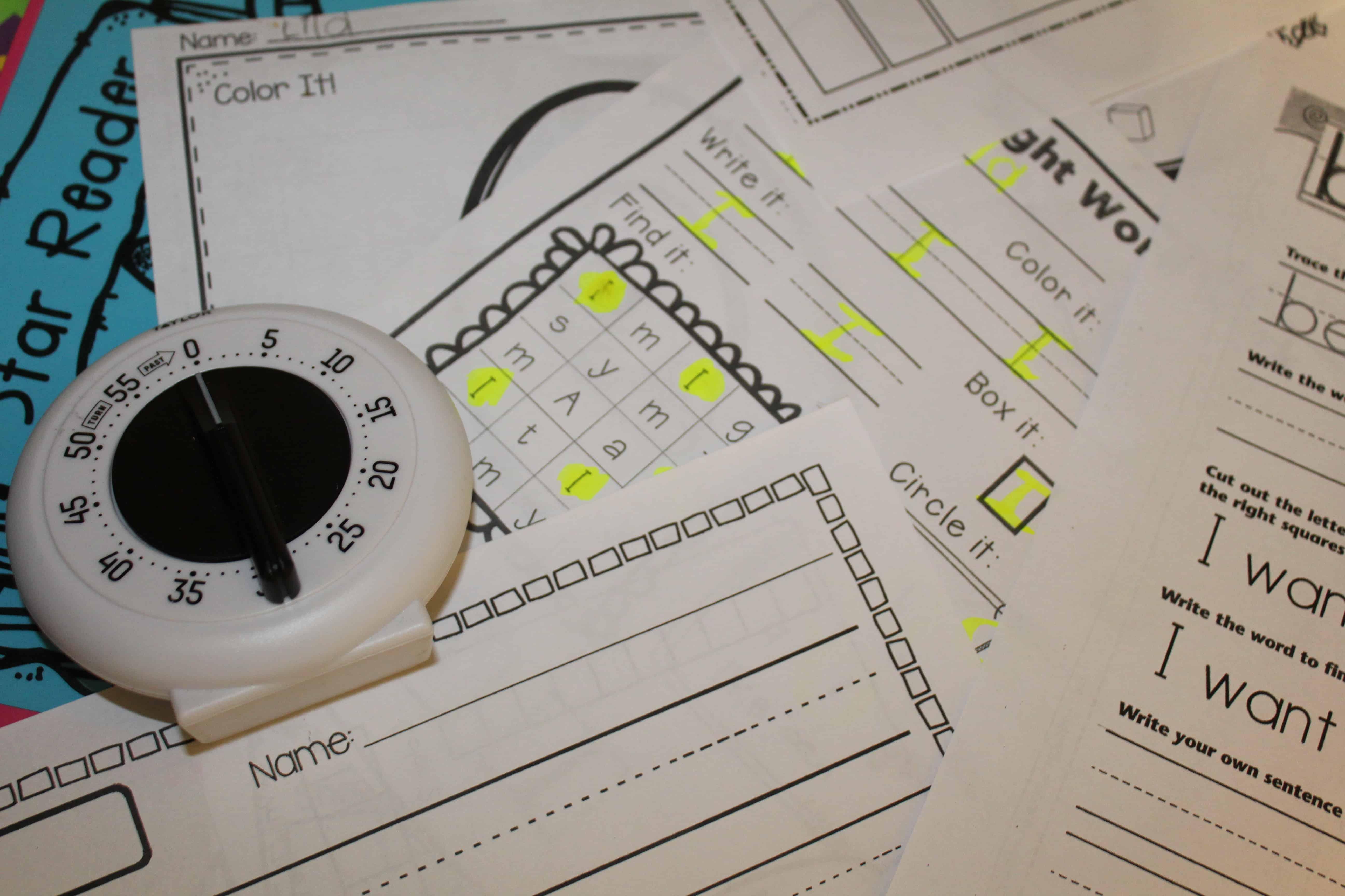 kitchen timer on kindergarten homework