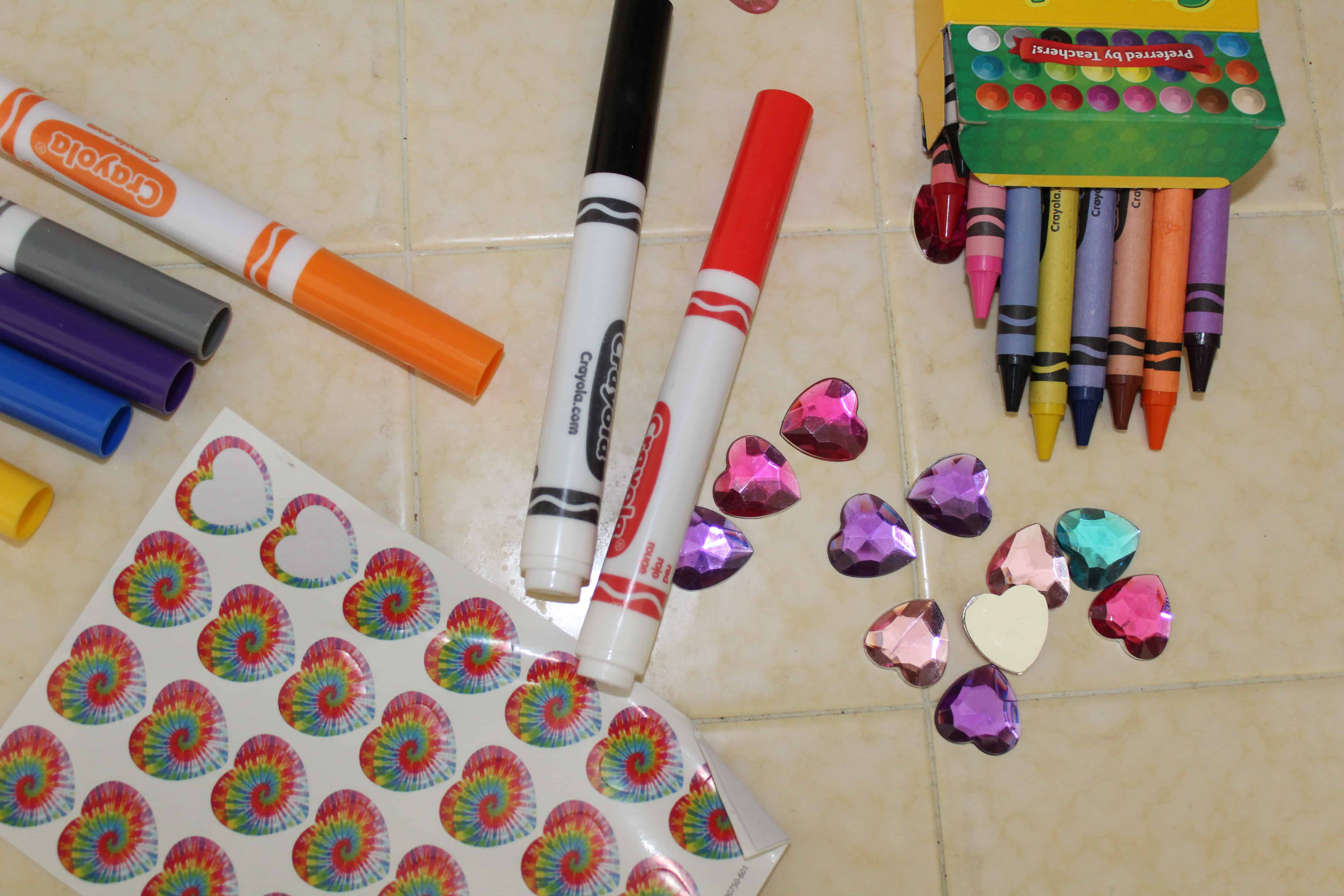 reinforcements to help kids do their homework; stickers, markers, gems