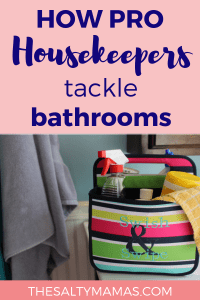 Need to step up your bathroom cleaning game? We've got bathroom cleaning hacks to make it quicker- and just a little nicer- at TheSaltyMamas.com. #bathroomcleaning #cleaninghacks #cleaningtips #cleaning #housekeeping #bathroom #clean #bathroomcleaninghacks