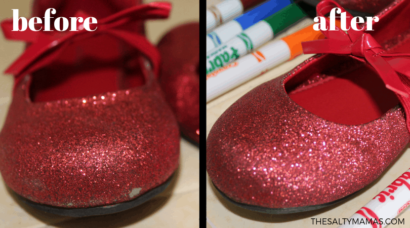 A before and after image of a sparkly red shoe with the color touched up.