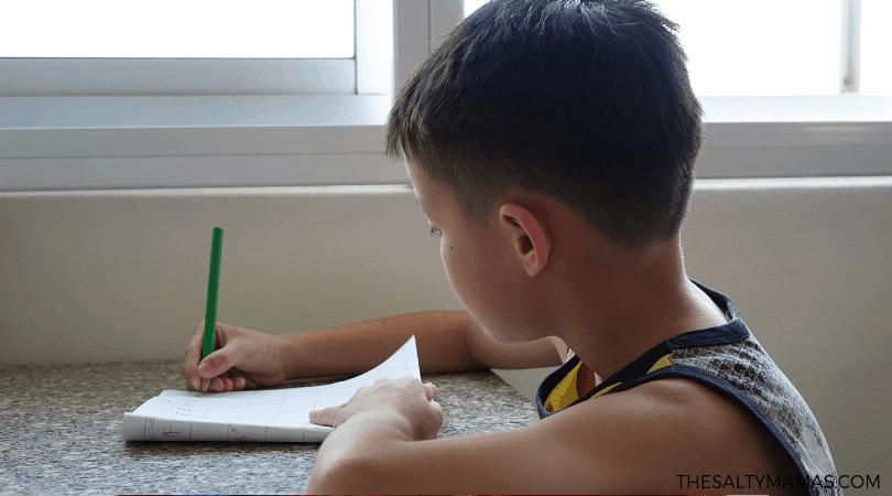 kindergartener doing homework