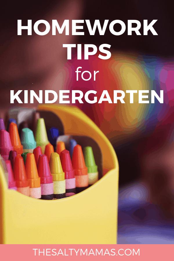 box of crayons; text: homework tips for kindergarten