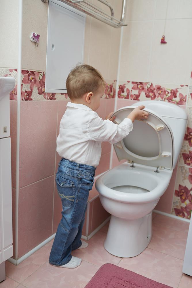 toddler putting toilet seat down