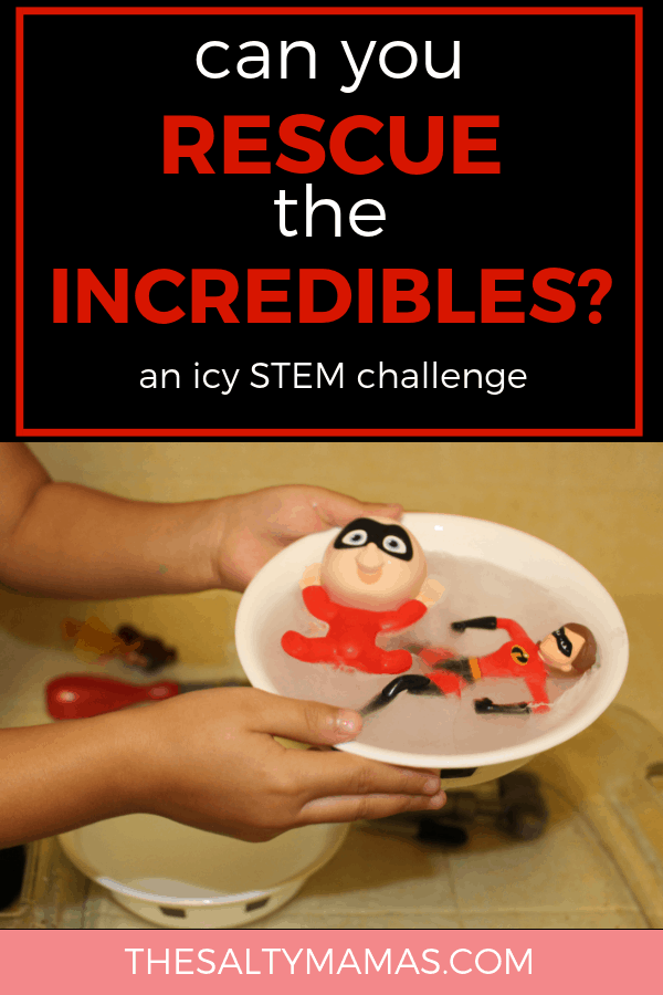 Two Incredibles action figures sitting in a bowl of ice. Text overlay: can you rescue the incredibles?