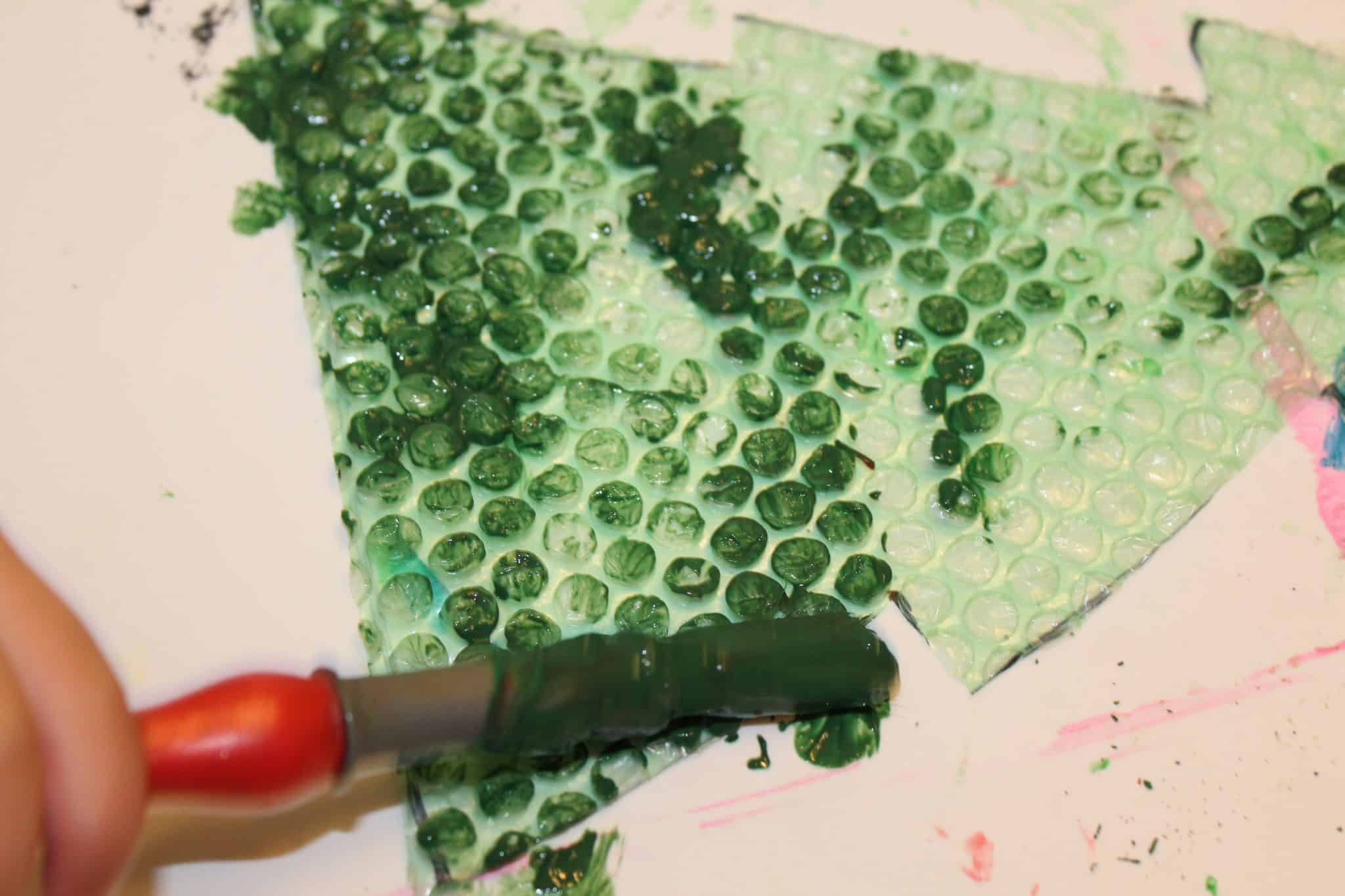 Christmas Tree Print Making For Kids Featuring Bubble Wrap The