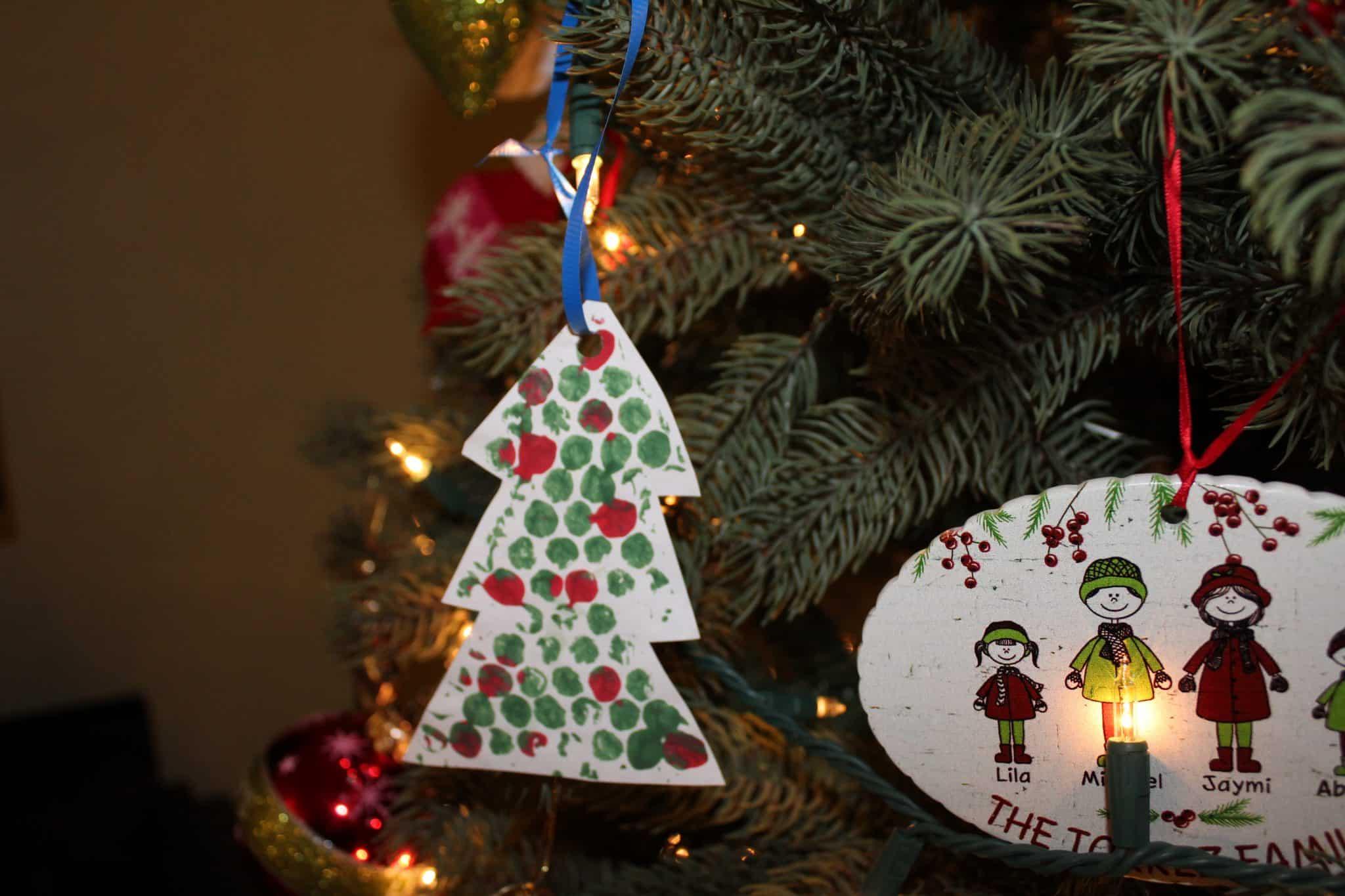 Christmas tree painted print used as an Christmas tree Ornament