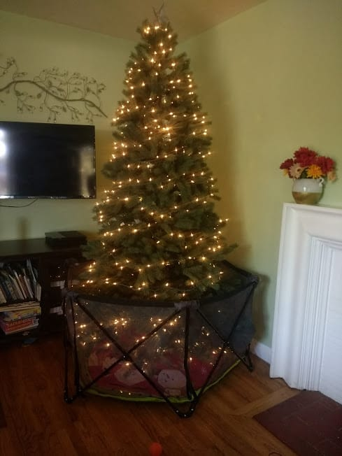 Beautiful brightly lit Christmas tree with hexagonal cage around it.