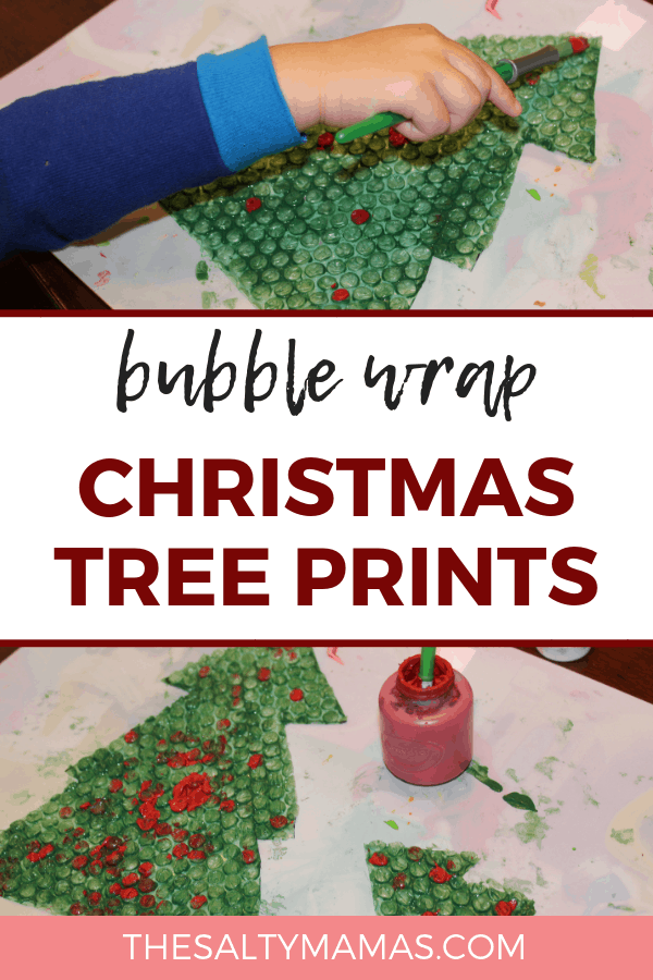 Toddler using paint on bubble wrap to make a Christmas tree. Text overlay: Bubble wrap Christmas tree prints.