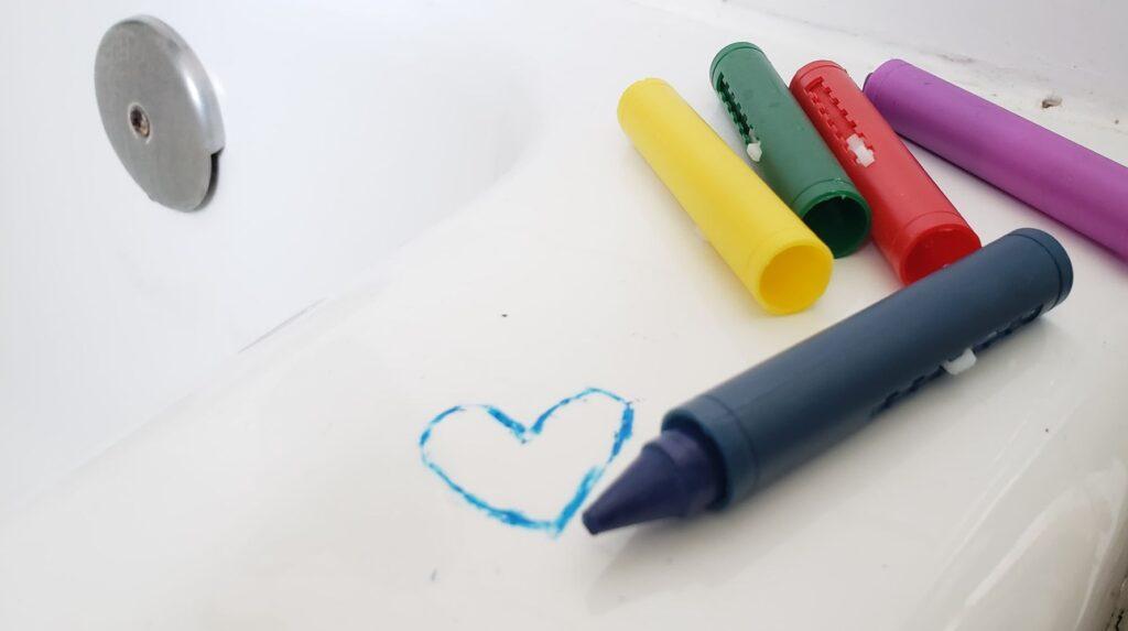 bath tub crayons drawing a heart
