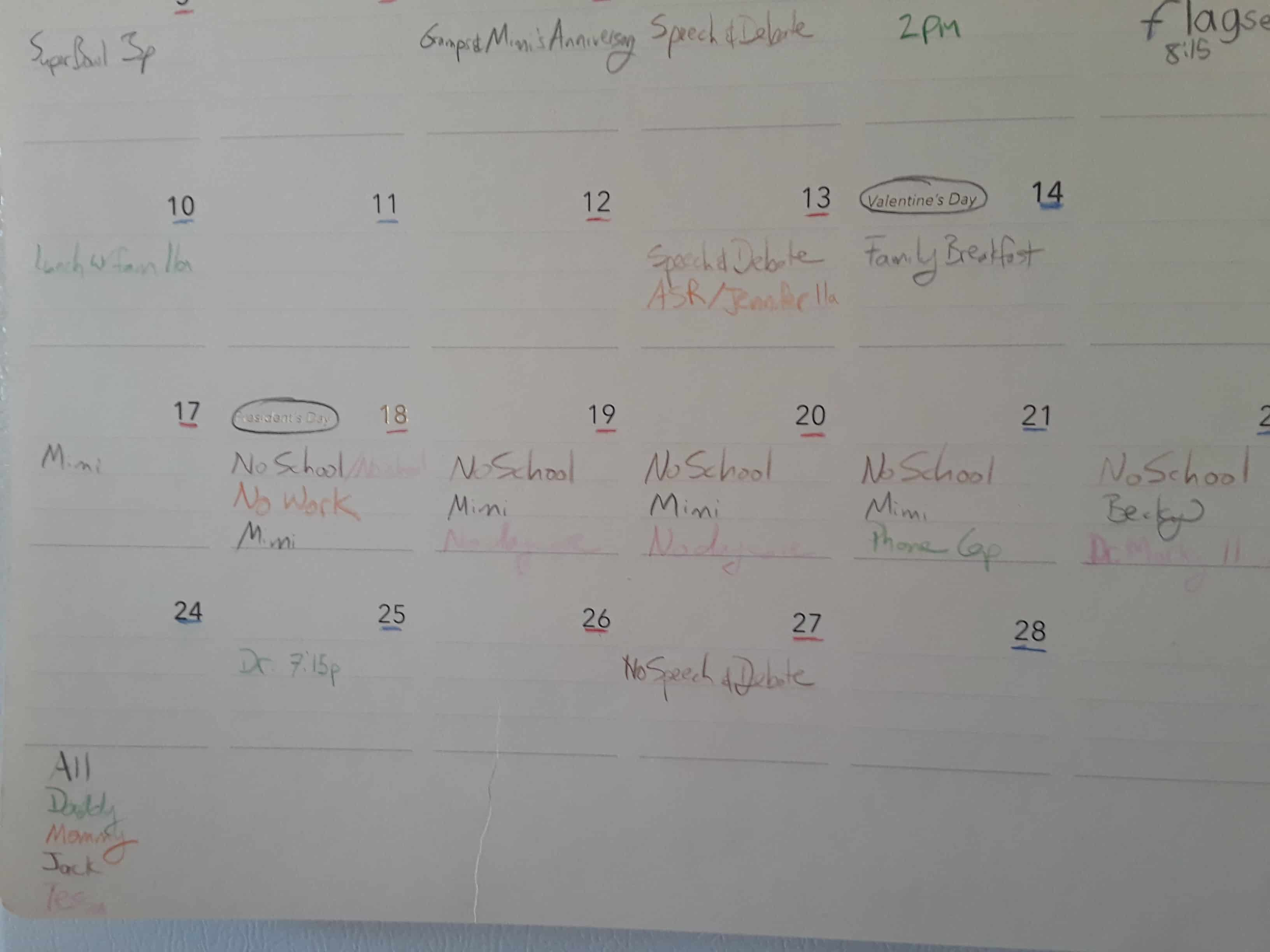 Calendar picture with different events marked on different dates
