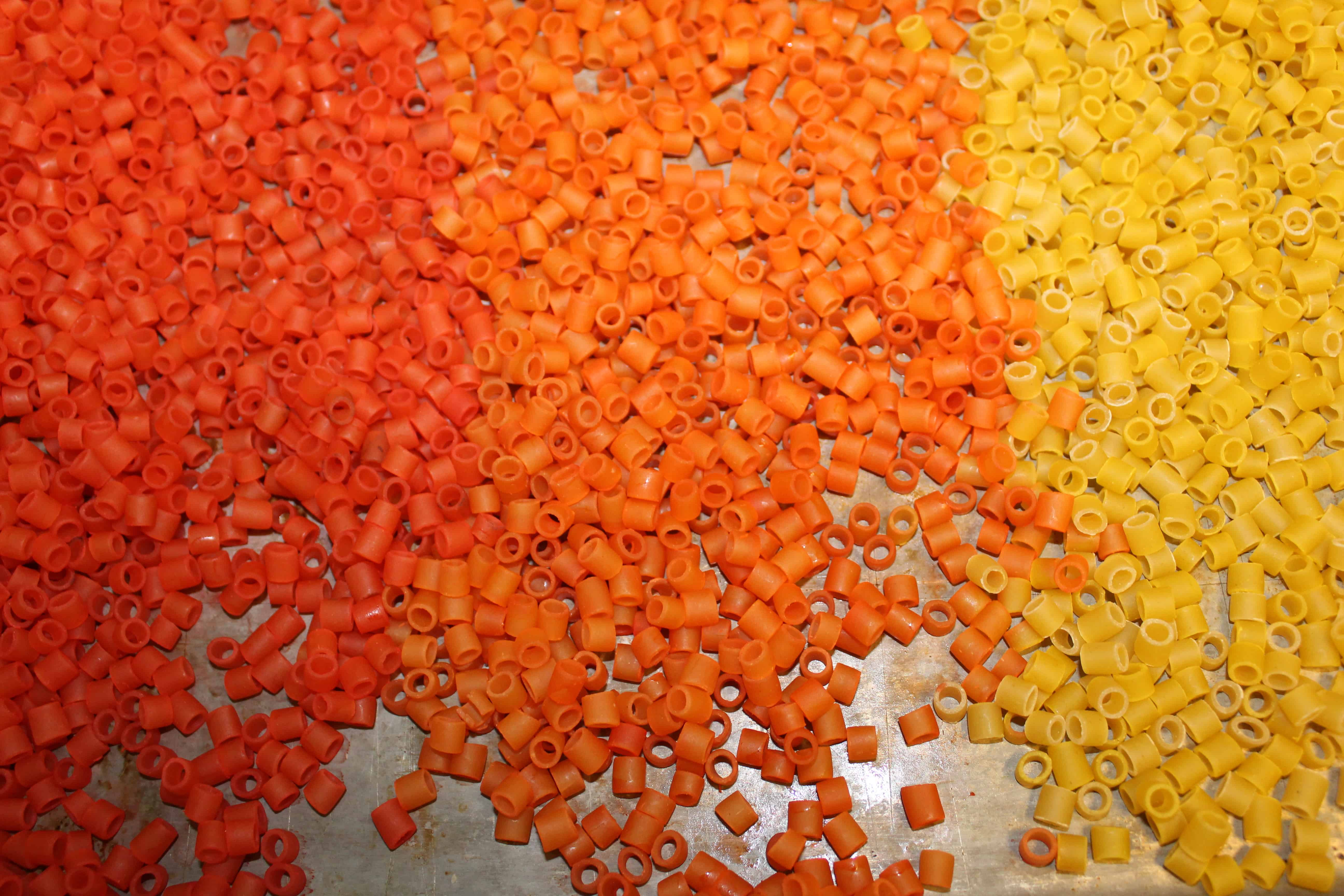 red, orange, yellow dyed pasta beads