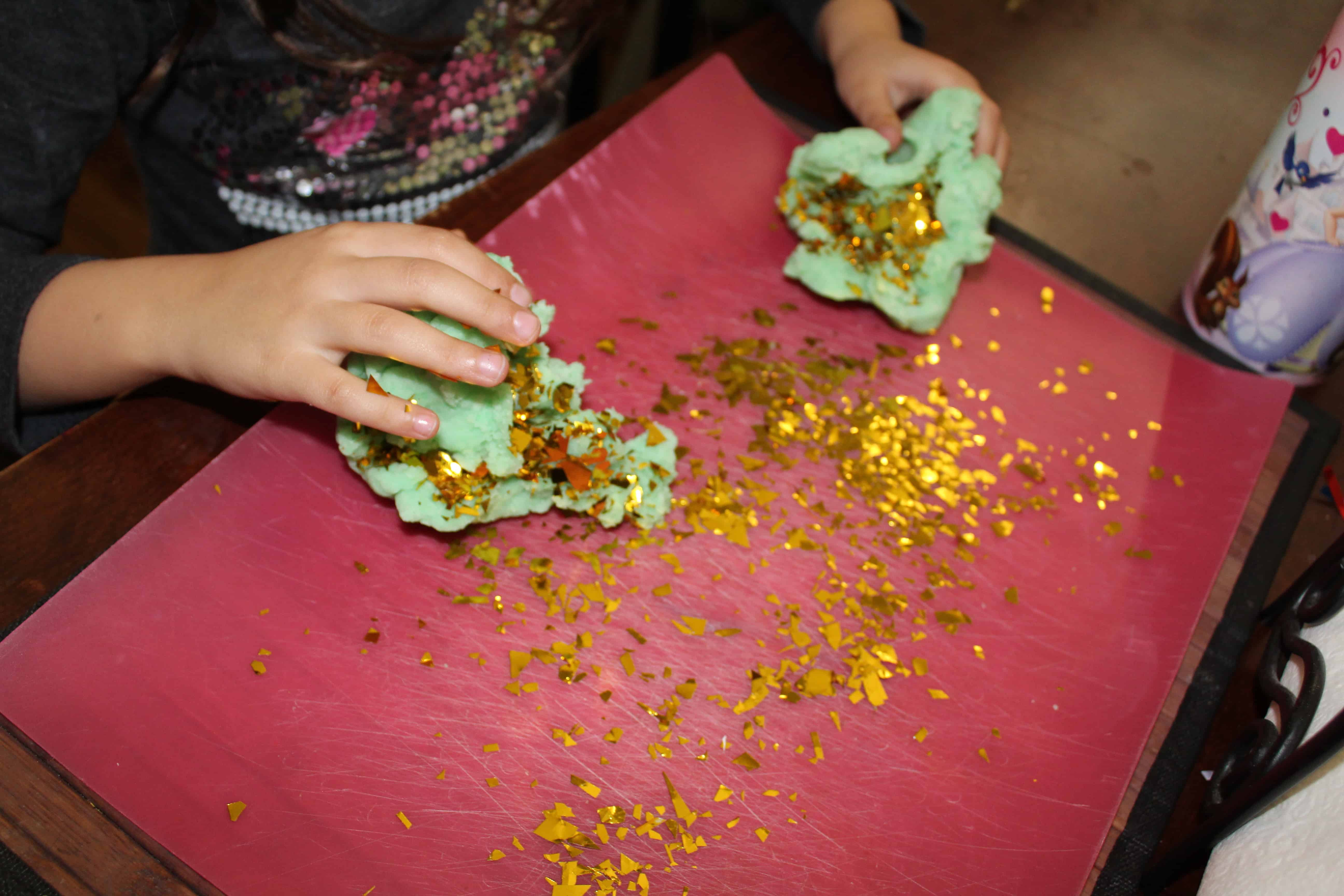 gold coming out of st. patrick's day playdough