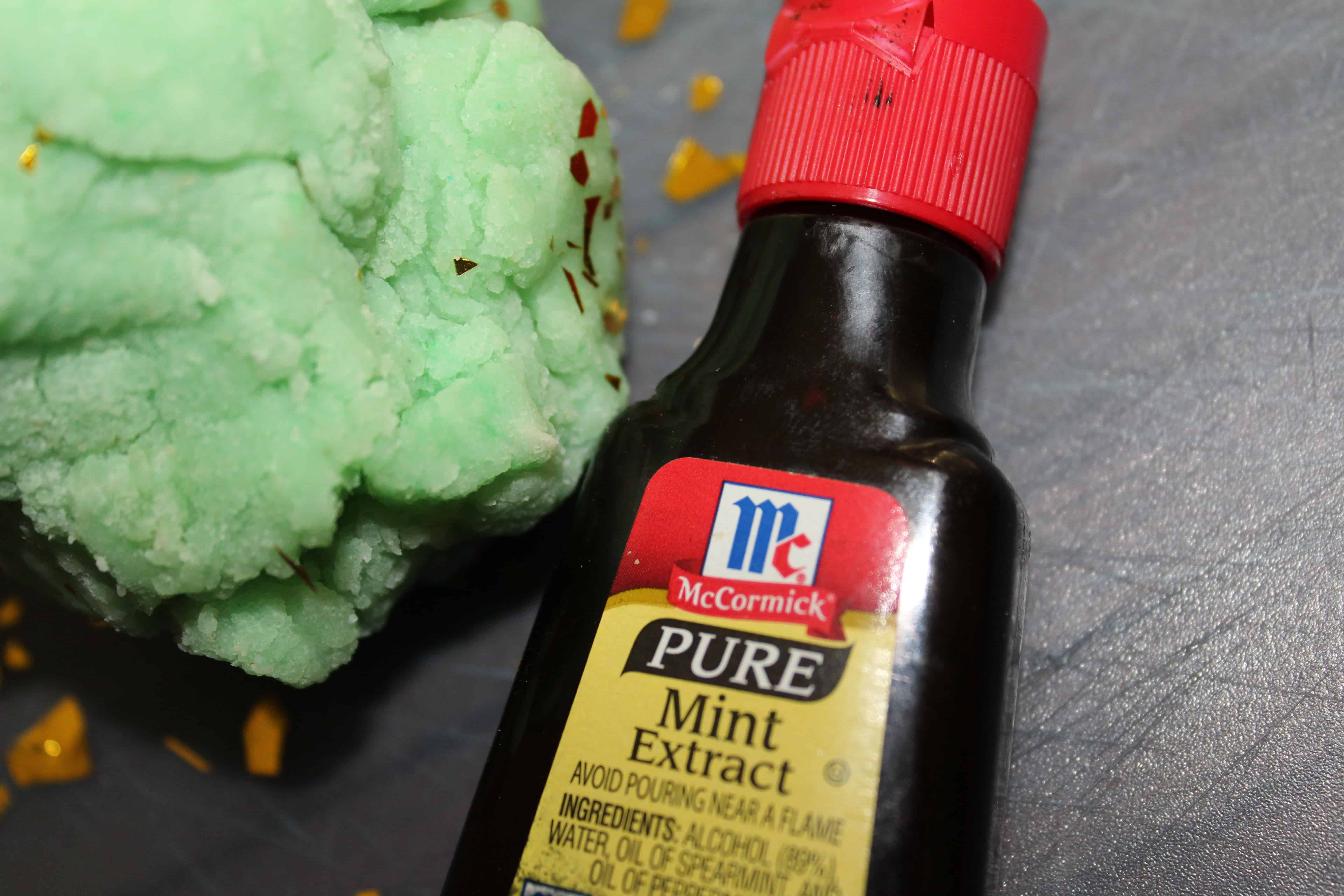 mint extract with green playdough