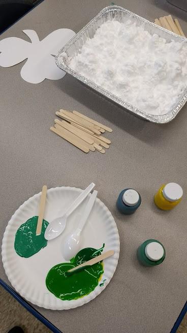 shaving cream and green paint