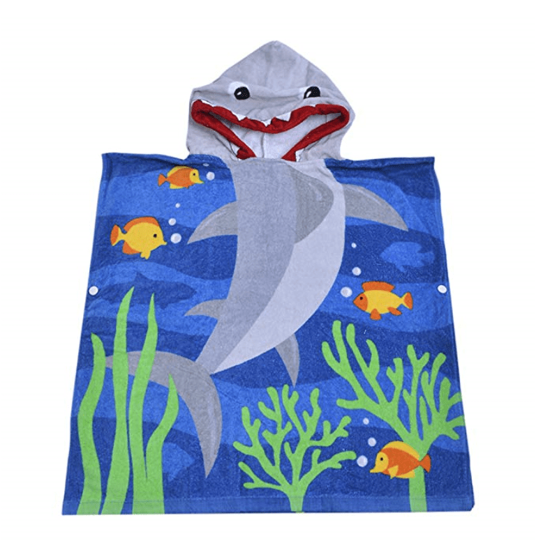 Shark towel with hood