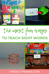 For some kids, learning sight words can be HARD. But that doesn't mean it cant be FUN! Check out these tips to keep your kids playing while they learn! #sightwords #highfrequencywords #kindergarten #learningthroughplay #playbasedlearning #sightwordpractice #howtoteachsightwords #howtotaechhighfrequencywords