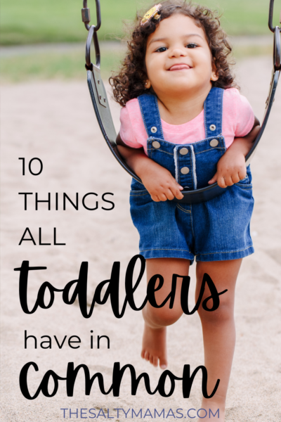 toddler on swing; text: 10 things all toddlers have in common