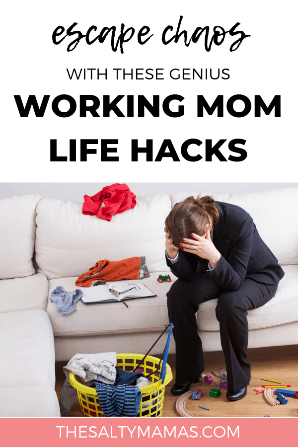 A woman with her head in her hands with a disarray house behind her. Text overlay: Escape chaos with these genius working mom life hacks.