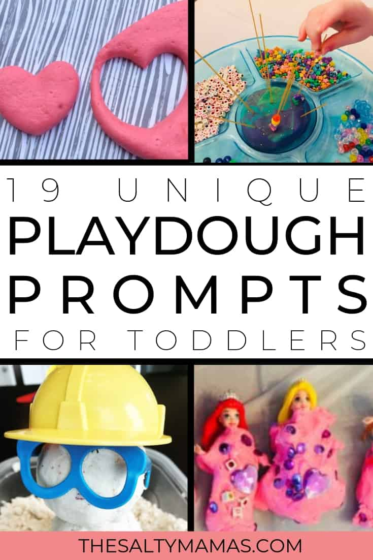 playdough ideas; text: unique playdough prompts for toddlers
