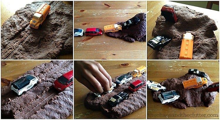 """toy trucks in playdough """"mud"""""""