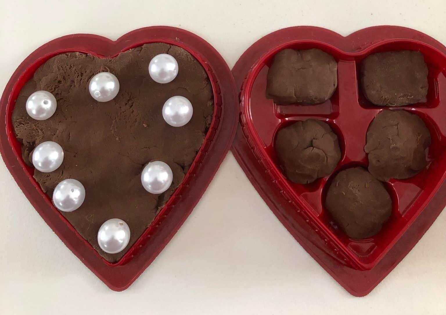 playdough in empty chocolate box