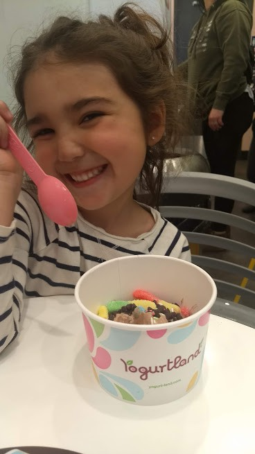"preschooler on a ""date"" at yogurtland"