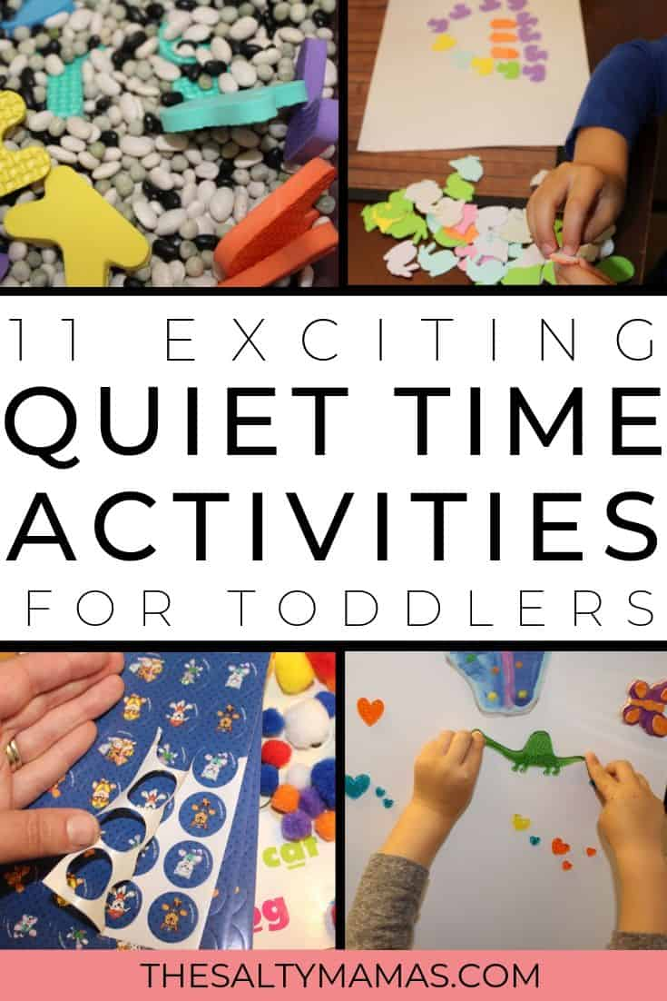 Toddler hands playing with stickers and gel clings; Text overlay: 11 exciting quiet time activities for toddlers.