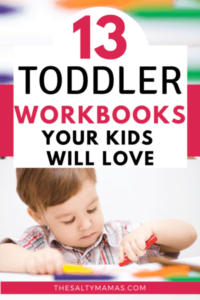 A CHILD WORKING ON A TODDLER WORKBOOK USING CRAYONS