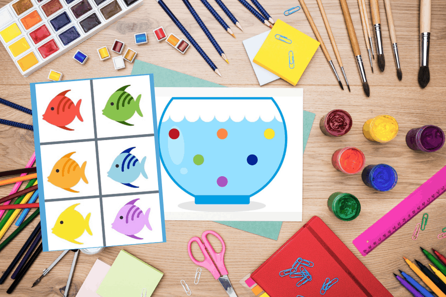 Sample of the explore and learn activity pack. A picture of a fish bowl with printed fish to cut out.
