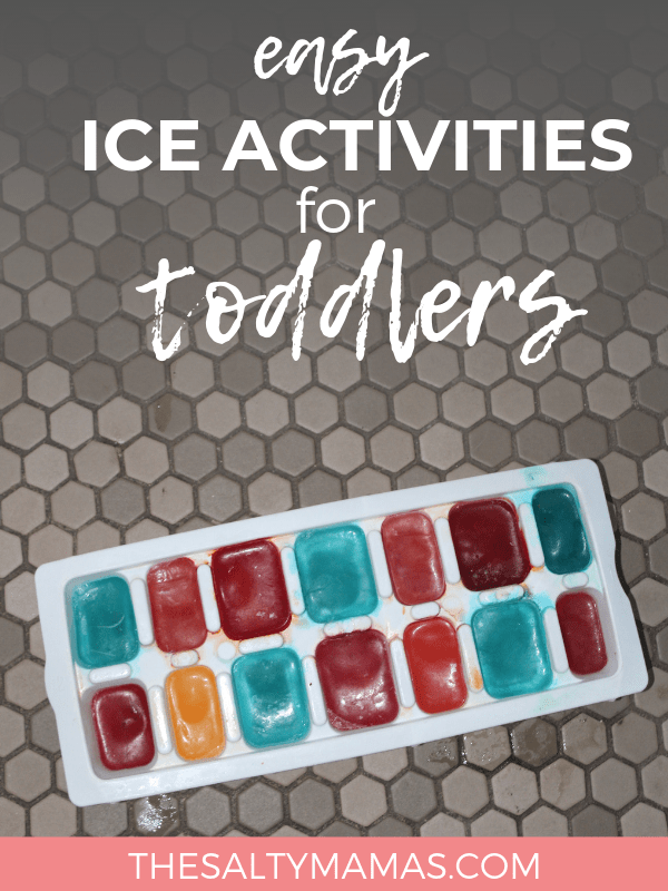 "Ice cube tray with ""Ice paint"" Blues, reds and yellows.; Text overlay: Easy Ice activities for toddlers"