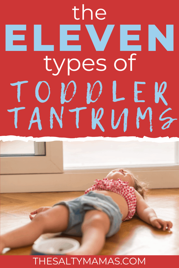 toddler tantrum; text: eleven types of toddler tantrums
