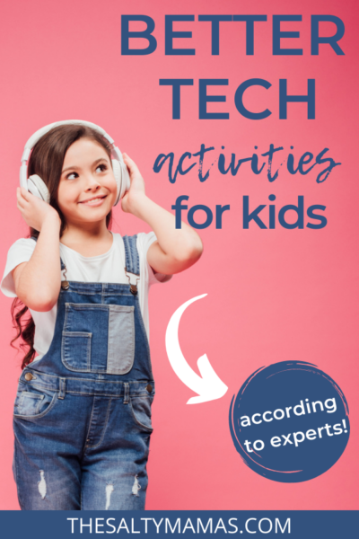 "girl with headphones; text overlay reads ""better tech for kids"""