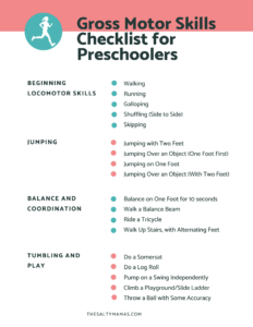 a list of gross motor skills for preschoolers