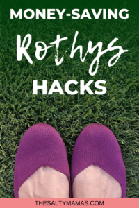 "a purple pair of rothys on grass, with words saying ""money saving rothys hacks"""