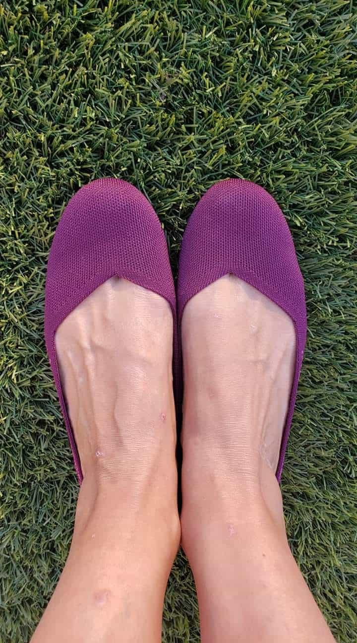 purple rothys on feet