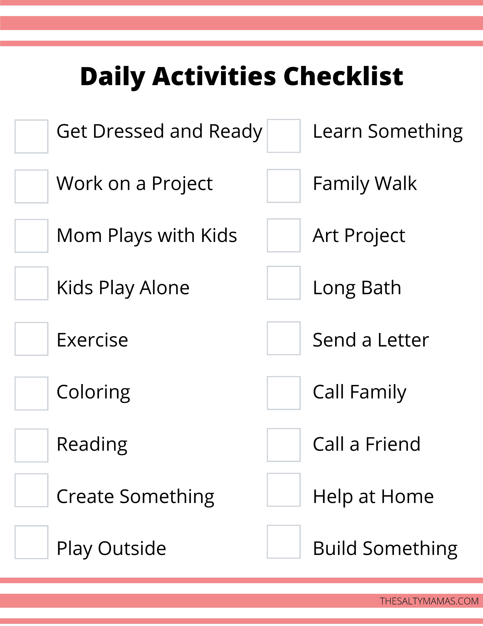 Example of a Daily activities checklist sheet.