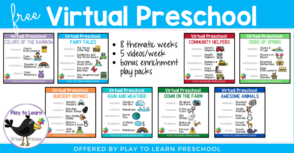 An example of the Virtual preschool play pack. Text overlay: 8 thematic weeks, 5 videos/week, bonus enrichment play pack.