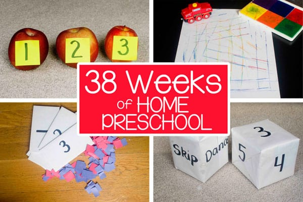 4 different photos, a set of three apples, two giant dice, 3 numbered cards, a drawn racetrack and toy car. Text overlay: 38 weeks of home preschool.