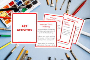 """""""art activity"""" cards on a paint background"""