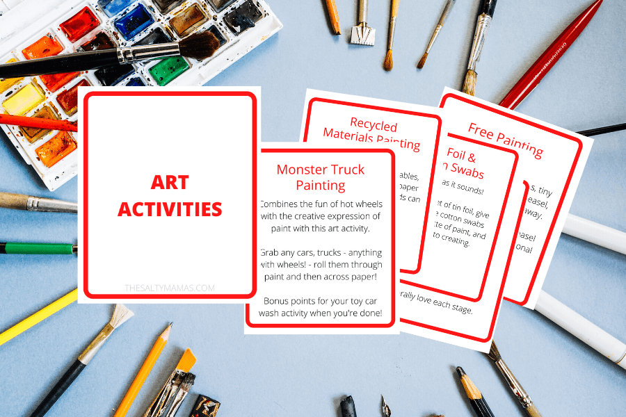 """art activity"" cards on a paint background"