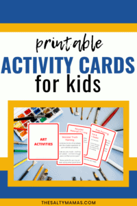"a picture of activity cards with text overlay that reads ""printable activity cards for kids"""