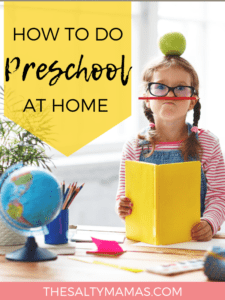 "a preschooler playing with school supplies; text overlay that reads ""how to do preschool at home"""