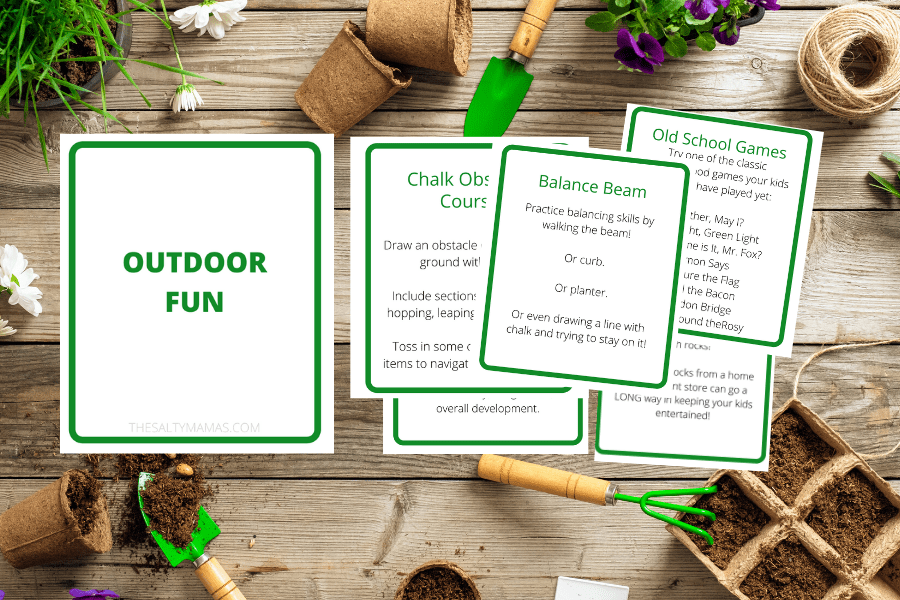 "cards related to ""outdoor fun"" on a garden overlay"