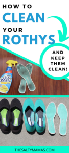 "rothys lined up with text overlay that says ""how to clean your rothys"""