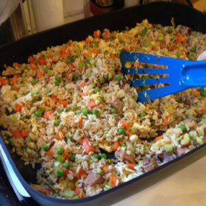 fried rice made with ham and veggies